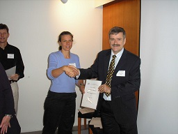 Renee with certificate, Helsinki 05
